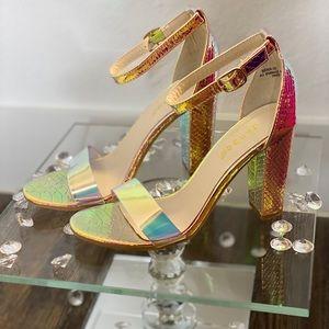 Multi colored iridescent chunky heel